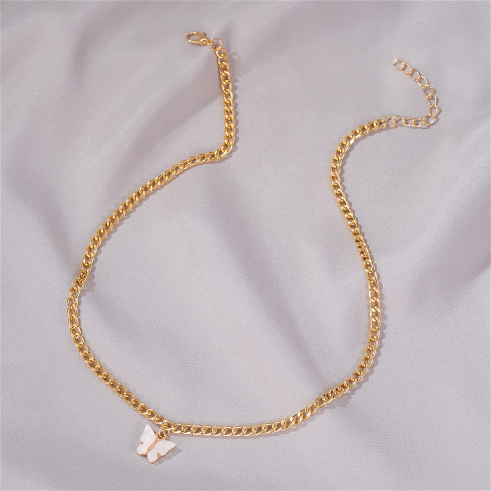 Korean fashion new item butterfly necklace clavicle chain summer wind simple butterfly pendant wholesale NHDP217336