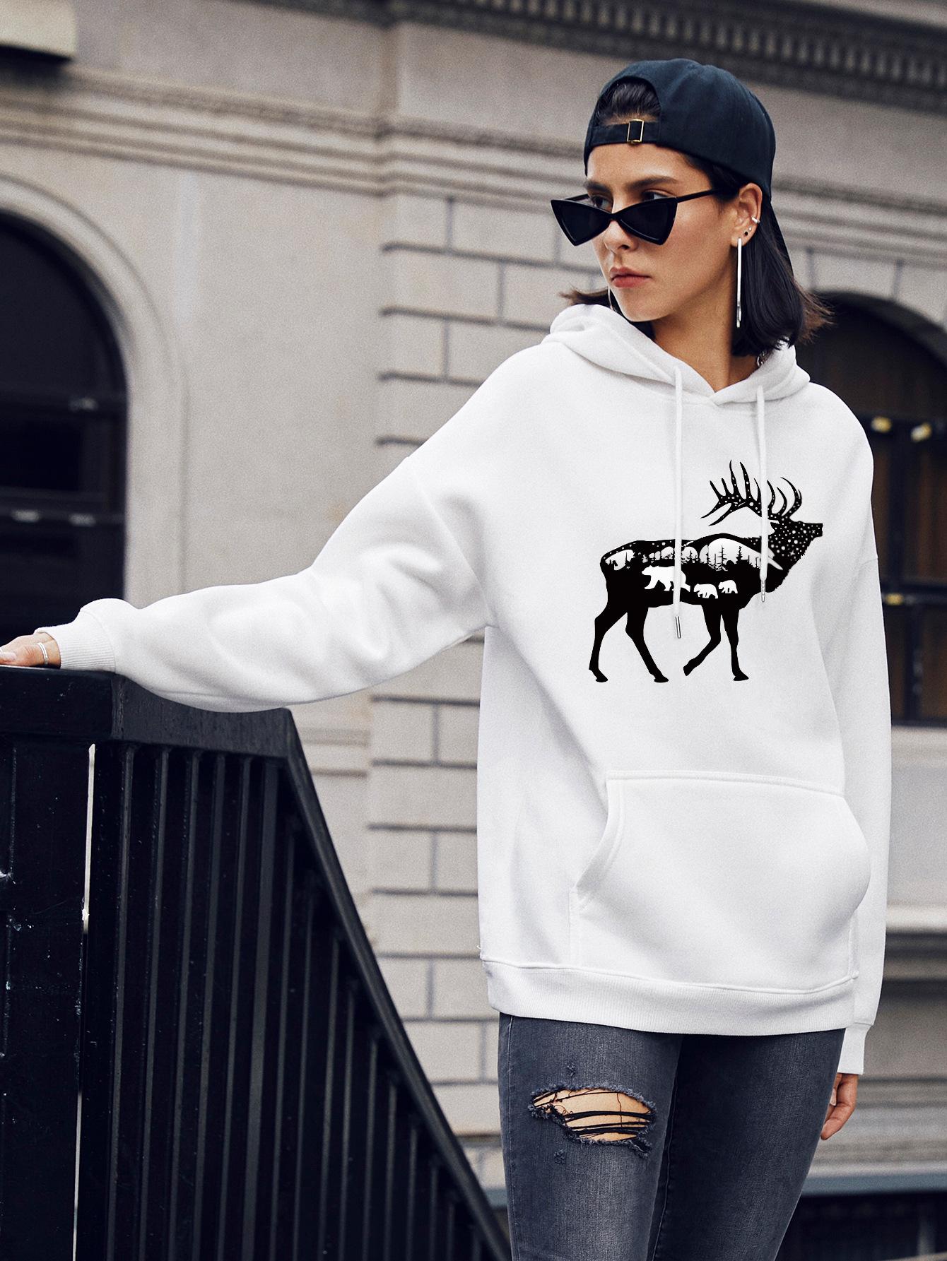 women's popular deer print casual hooded sweater NSSN2270
