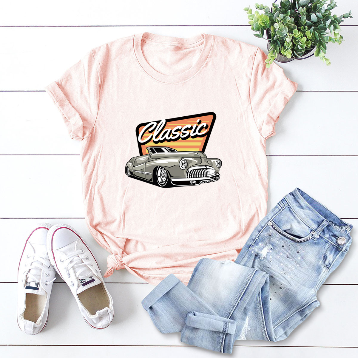 car printing pure cotton short-sleeved t-shirt women NSSN2691