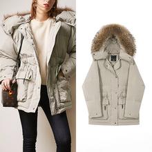 灰綠色真毛領收腰顯瘦中長款羽絨服加厚90絨直筒外套秋冬季女