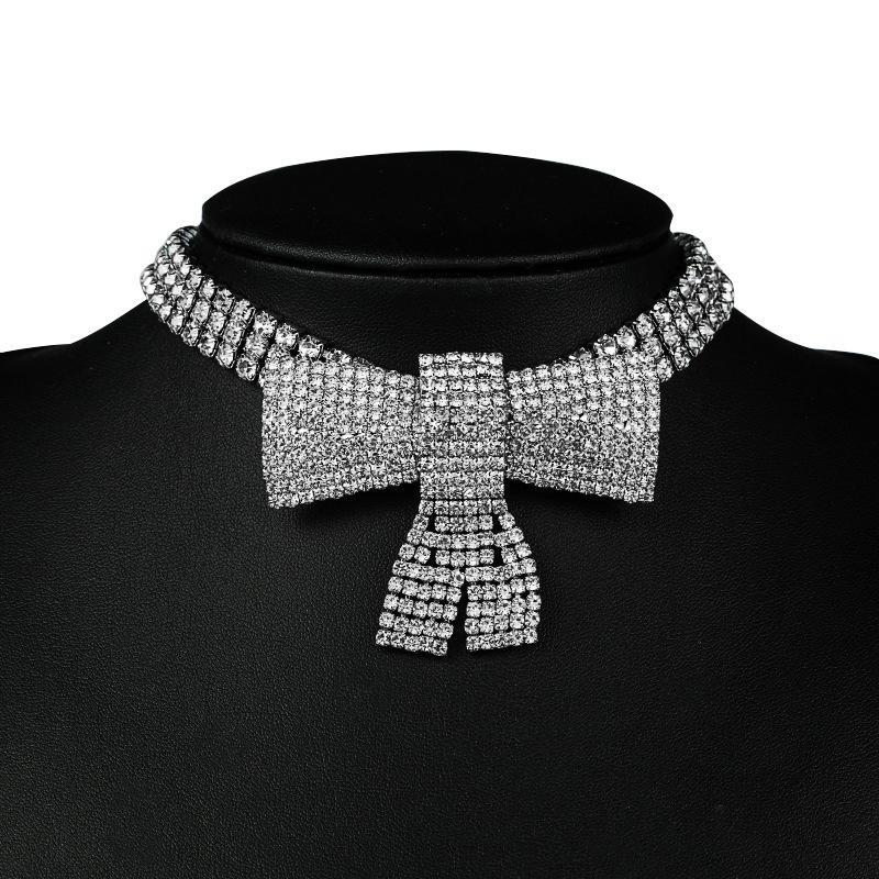 hip-hop style lock creative bow full diamond exaggerated simple party short necklace for women NHLN258335