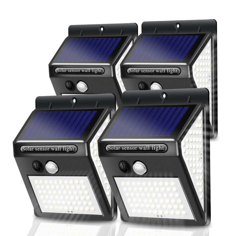 跨境150LED太阳能壁灯自动感应超亮壁灯室内外家用三面140LED路灯