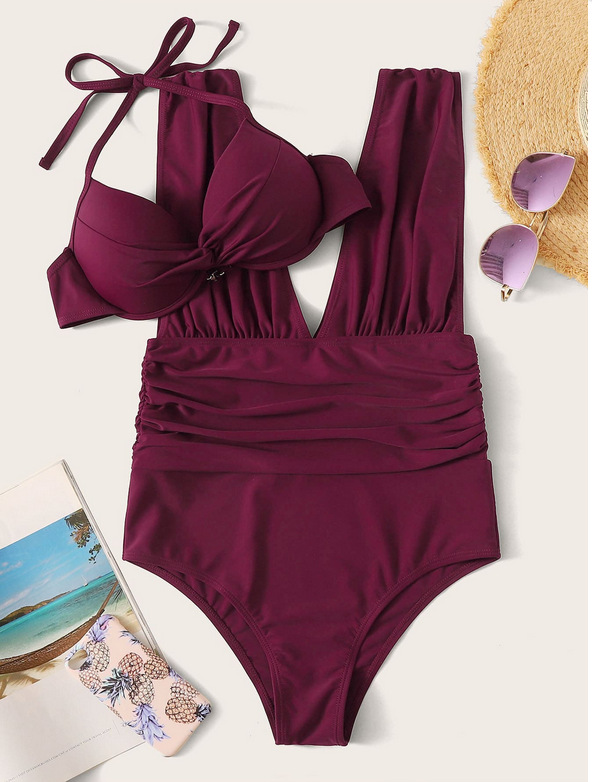 hot-selling large-size conservative one-piece leak-back solid-color bikini swimsuit  NSHL3287