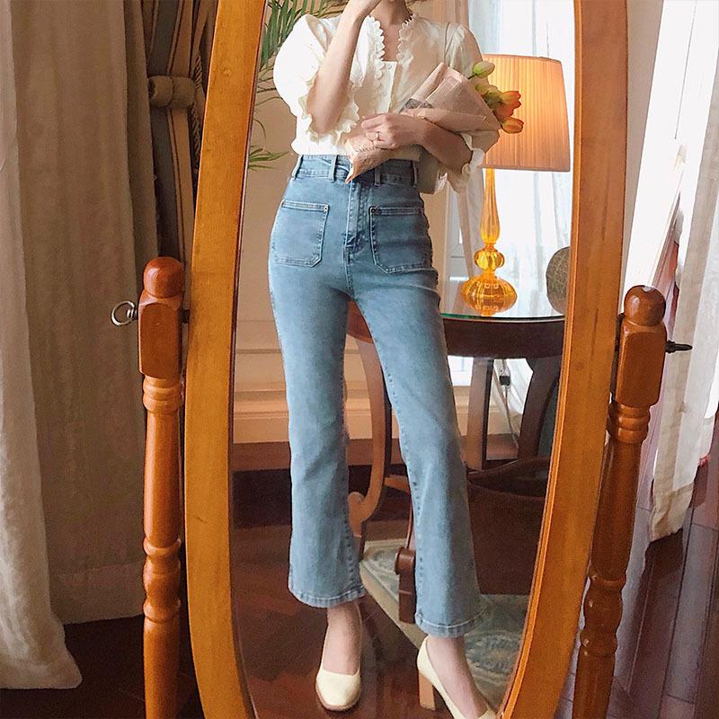 网红同款 仔裤女2020新款韩版复古港风小众设计感高腰九分喇叭