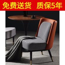 北欧布艺沙发单人墨绿色网红个性休闲椅客厅后现代轻奢美式沙发椅