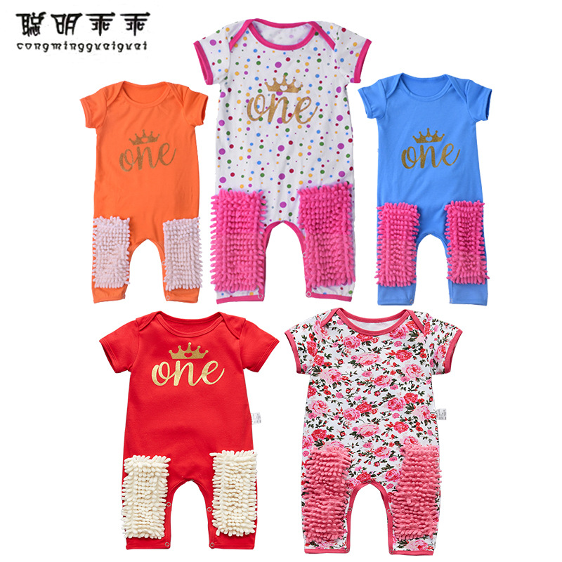 2020新款儿童时尚爬服婴幼儿短袖连体衣 宝宝棉质爬服一件代发