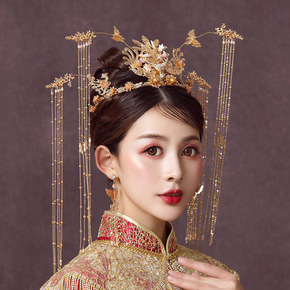 Mother's headdress show face small round face ancient Phoenix crown Xiuhe headdress wedding tassel step shake Xiuhe hairdress