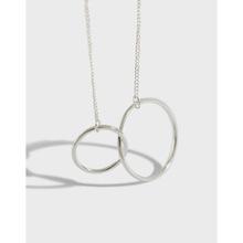 YH003韩版银饰S925纯银时尚个性简约光面双圆圈双环项链套链