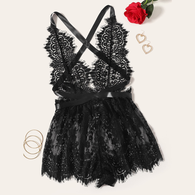 lace bow see-through sexy backless lingerie NSYO8719