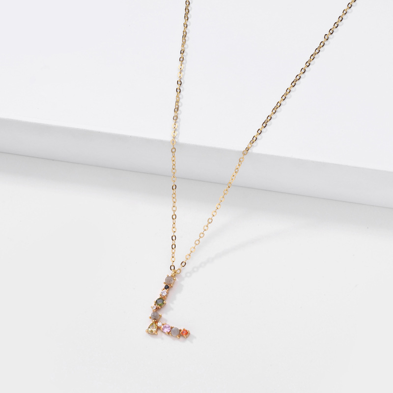 Fashion brass neck accessories natural stone zircon furnace vacuum real gold color preserving electroplating letter necklace nihaojewelry NHLU238301