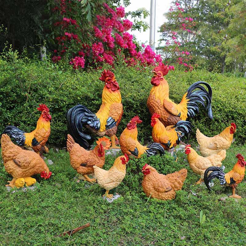 户外仿真公鸡摆件生肖鸡树脂工艺品花园装饰母鸡雕塑仿真动物模型