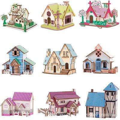 批发3d木质立体拼图 木屋建筑拼装模型儿童益智木制玩具地摊批发