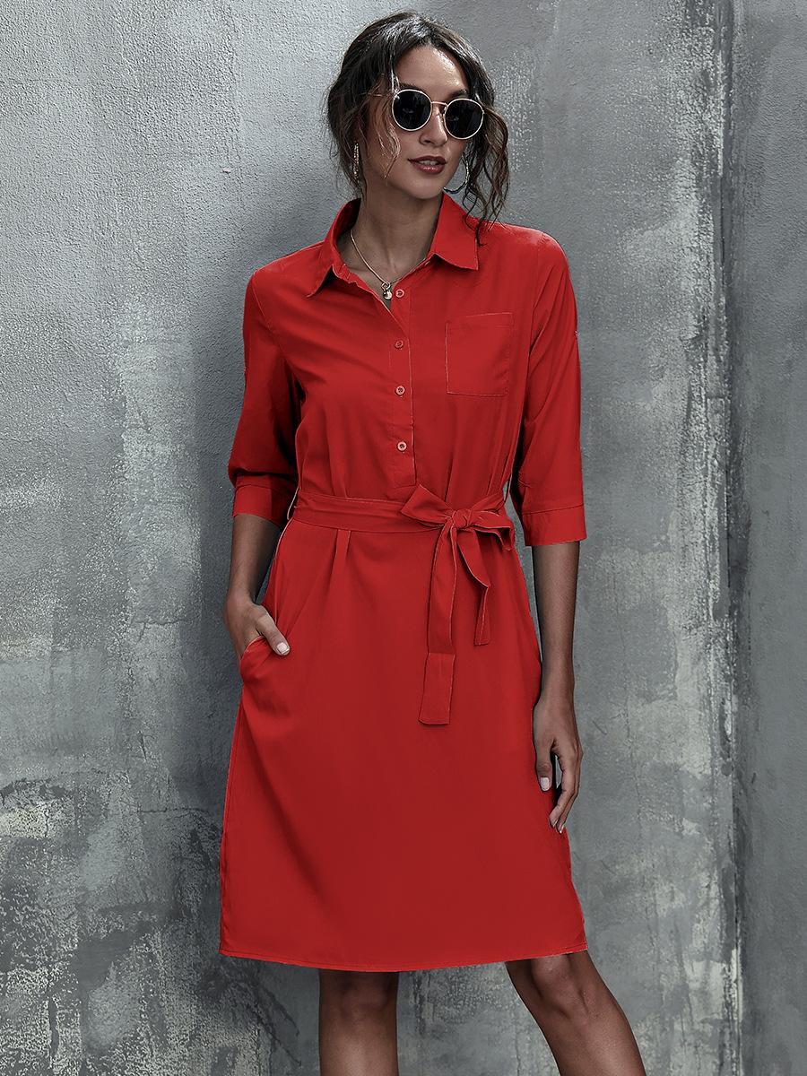 Three-quarter Sleeve Belt Pure Color Dress NSAL1929