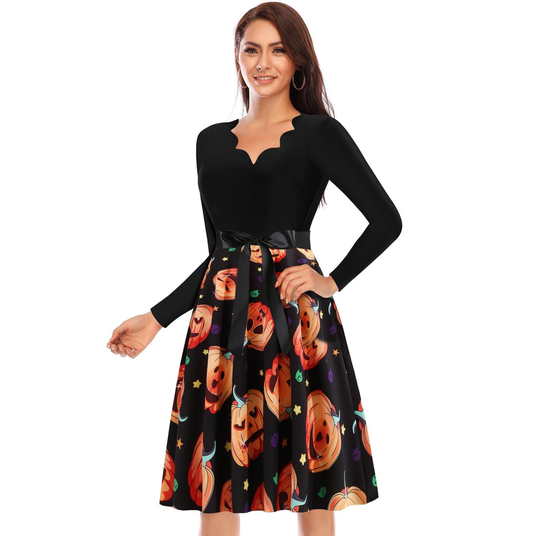 C0595 速卖通ebay万圣节女装波浪V领长袖拼接南瓜印花大摆连衣裙