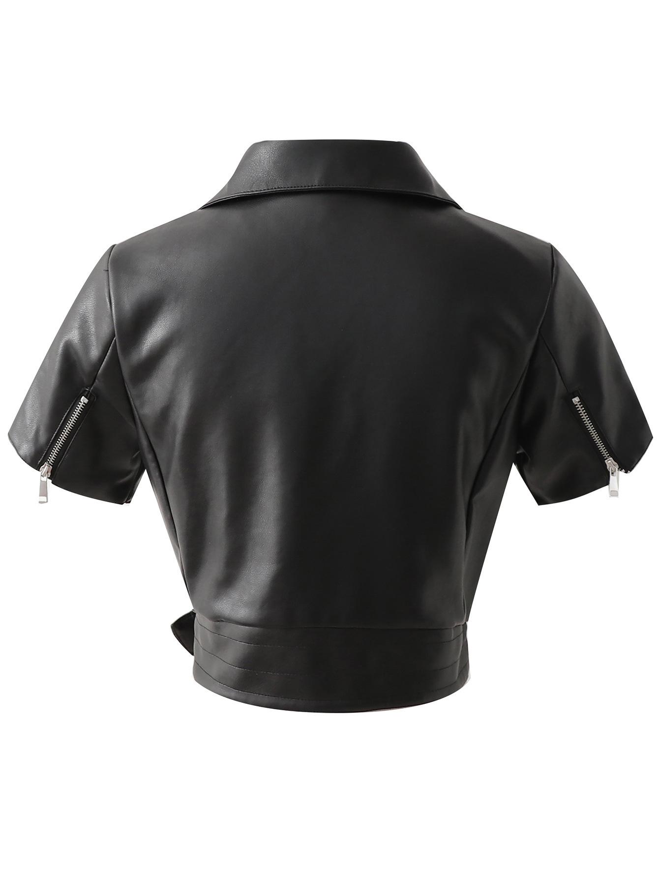 wholesale women's new short multi-zip leather jacket  NSAM4230