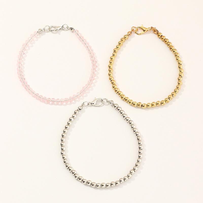 Mode Perlen Rosgold Armband dreiteilig Set Grohandel NHNU257685