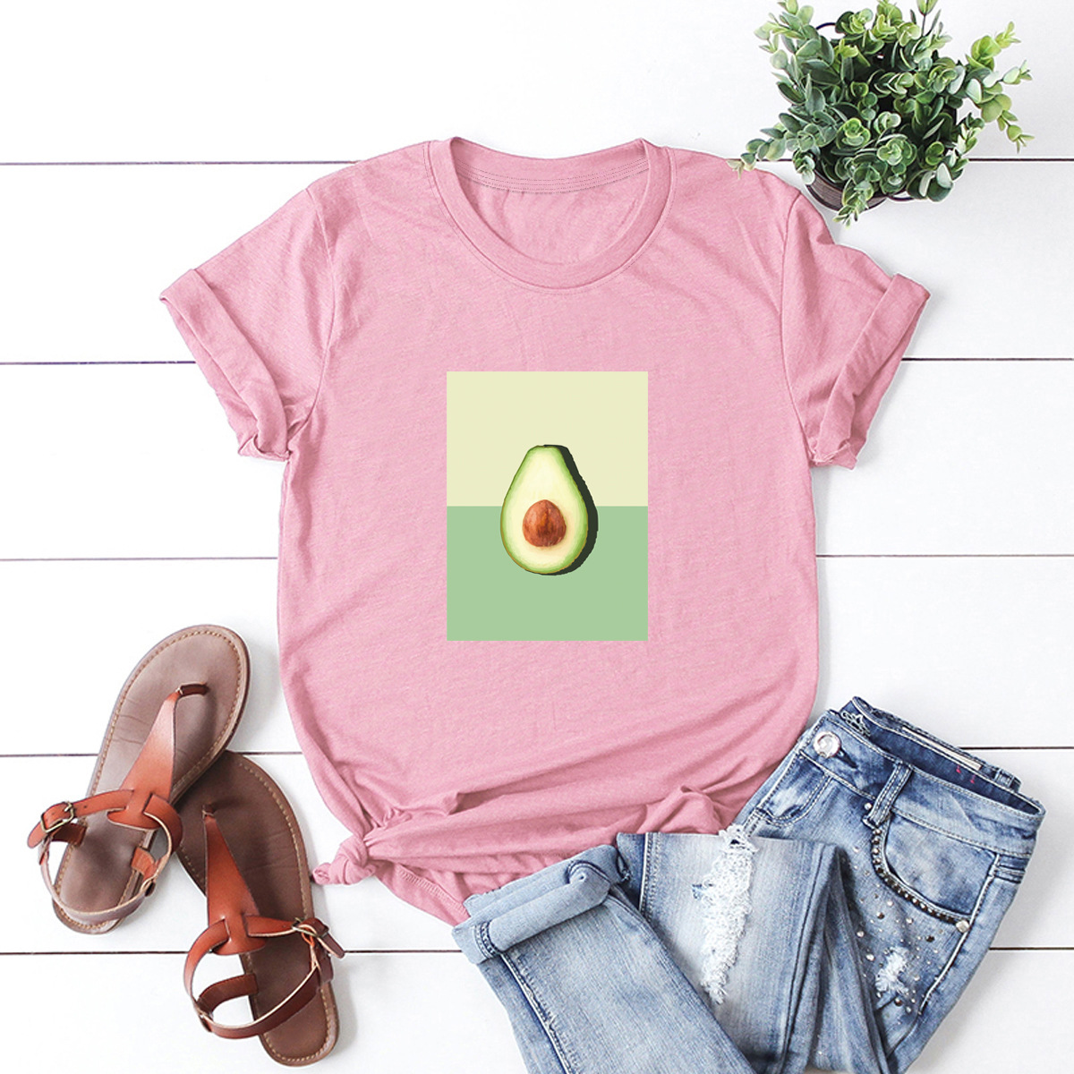 hot avocado print short sleeve women's T-shirt NSSN880