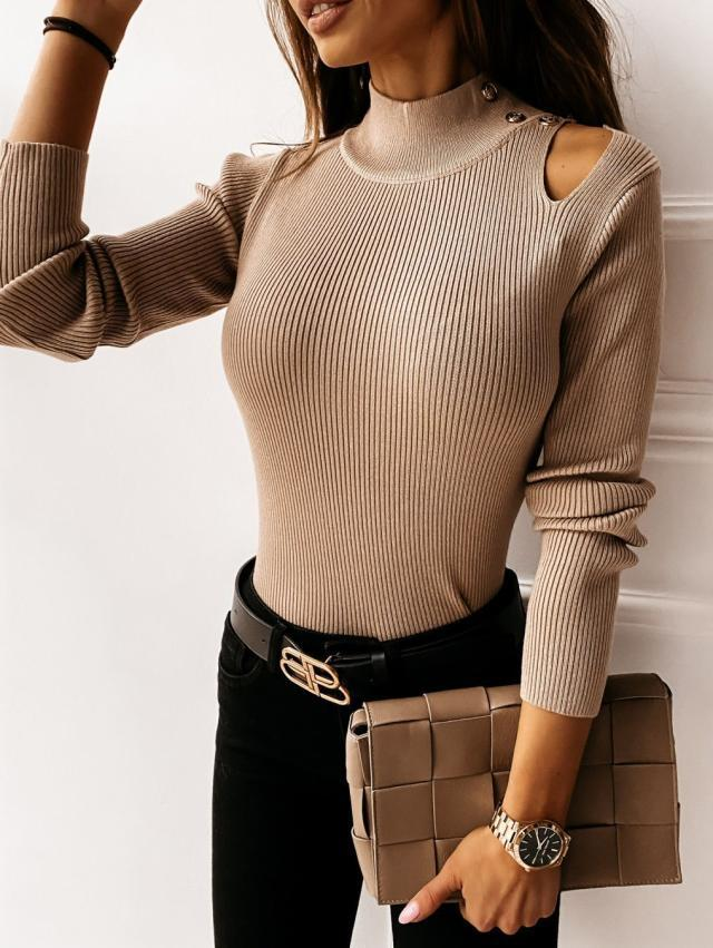 autumn and winter new button solid color sexy long-sleeved bottoming shirt NSYF4057