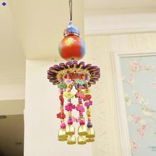 特色新款七彩云民族风东巴手工彩绘天然葫芦圆形草编彩色风铃挂件