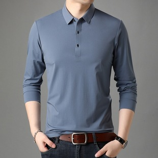 Yaxite 2020 autumn new products men's casual business lapel long-sleeved T-shirt fashion trend dad's shirt t