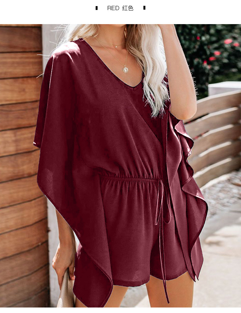 Pure color short jumpsuit summer ruffled loose hedging casual v-neck ruffled sleeve  NSSI2343