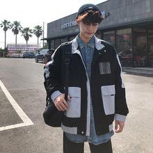 一件代發 工廠貨源2020春裝款立領時尚撞色貼標男生夾克大碼外套