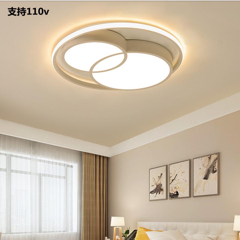 卧室灯现代个性艺术110V台湾电压吸顶灯LED圆形客厅灯2019年新款