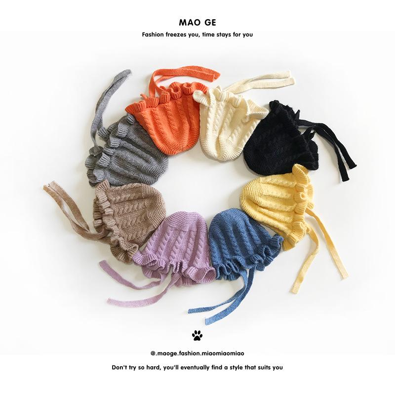 قبعة منسوجة للأطفال M252 للخريف والشتاء جديدة 2020 للأولاد والبنات بأشرطة من الدانتيل اللطيفة قبعة صوف دافئة للأطفال