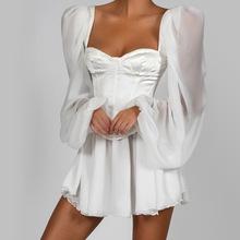 INS亚马逊WISH爆款跨境欧美女装灯笼袖OL气质修身性感雪纺连衣裙