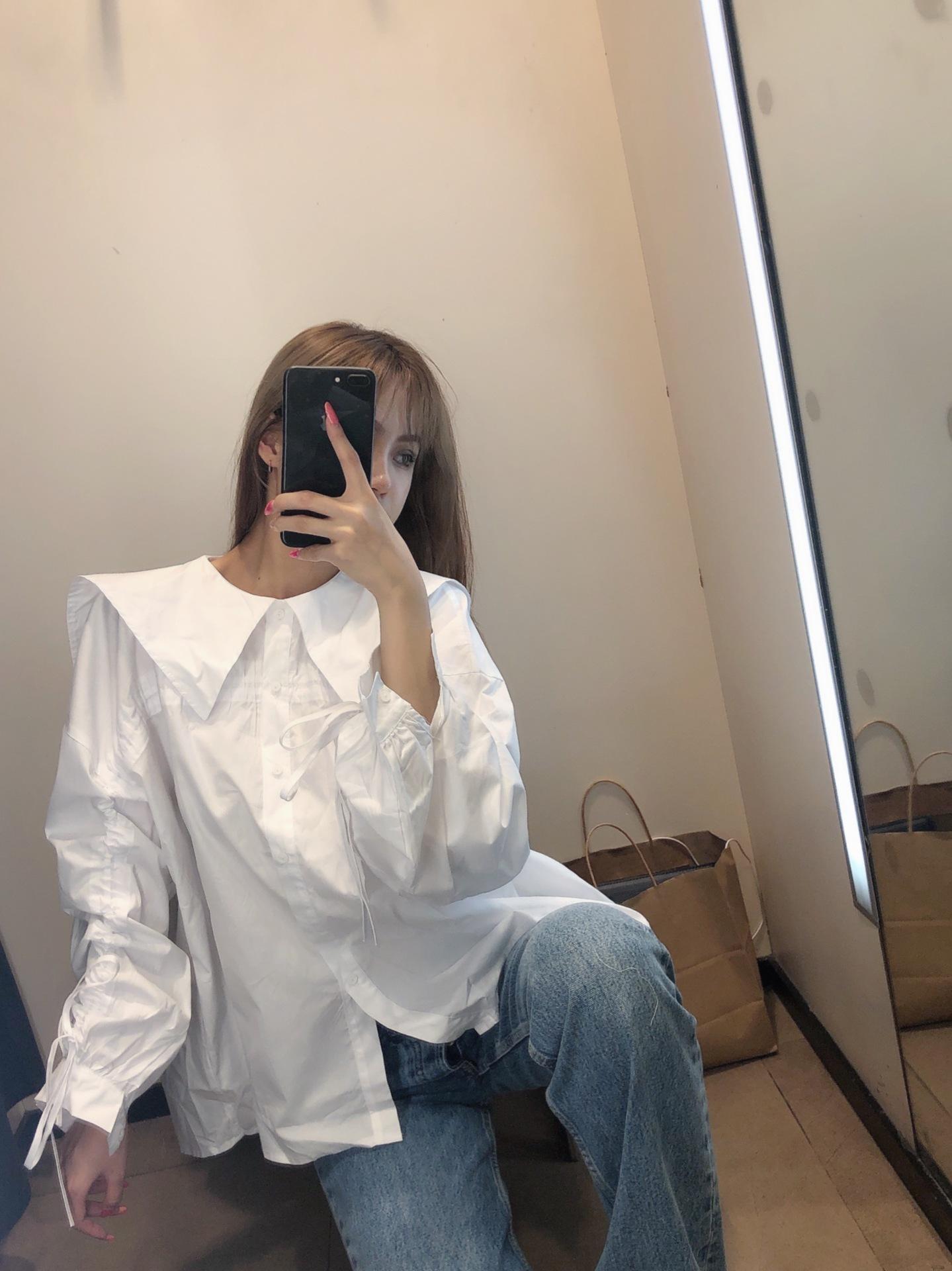 drawstring tie navy collar white blouse  NSAM3248
