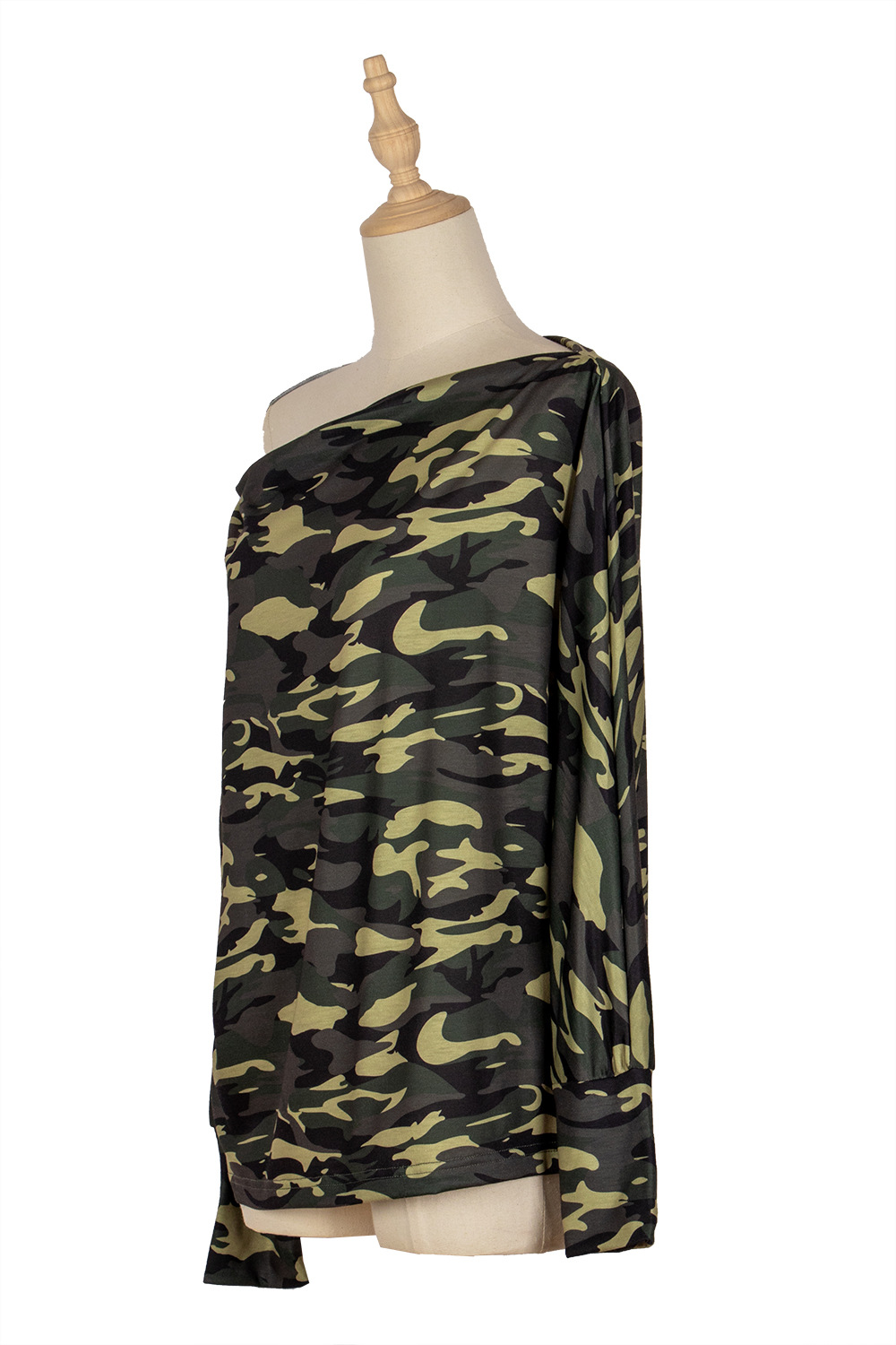 autumn and winter women's strapless camouflage knitted loose bottoming long-sleeved T-shirt  NSDF5180