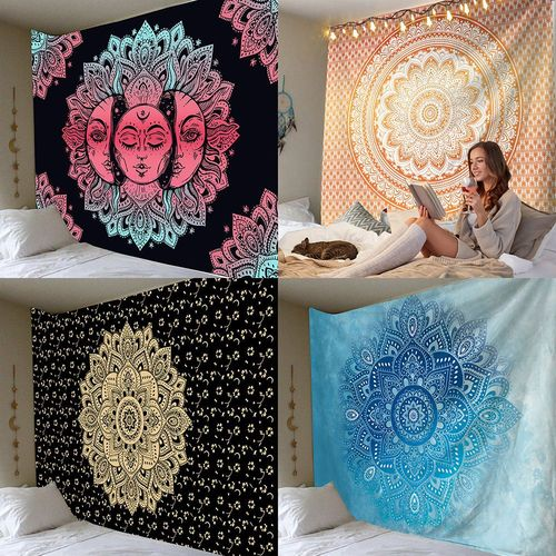 Pink Mandala Tapestry Indian wall hanging decoration ethnic style home bohemian wall hanging cloth carpet