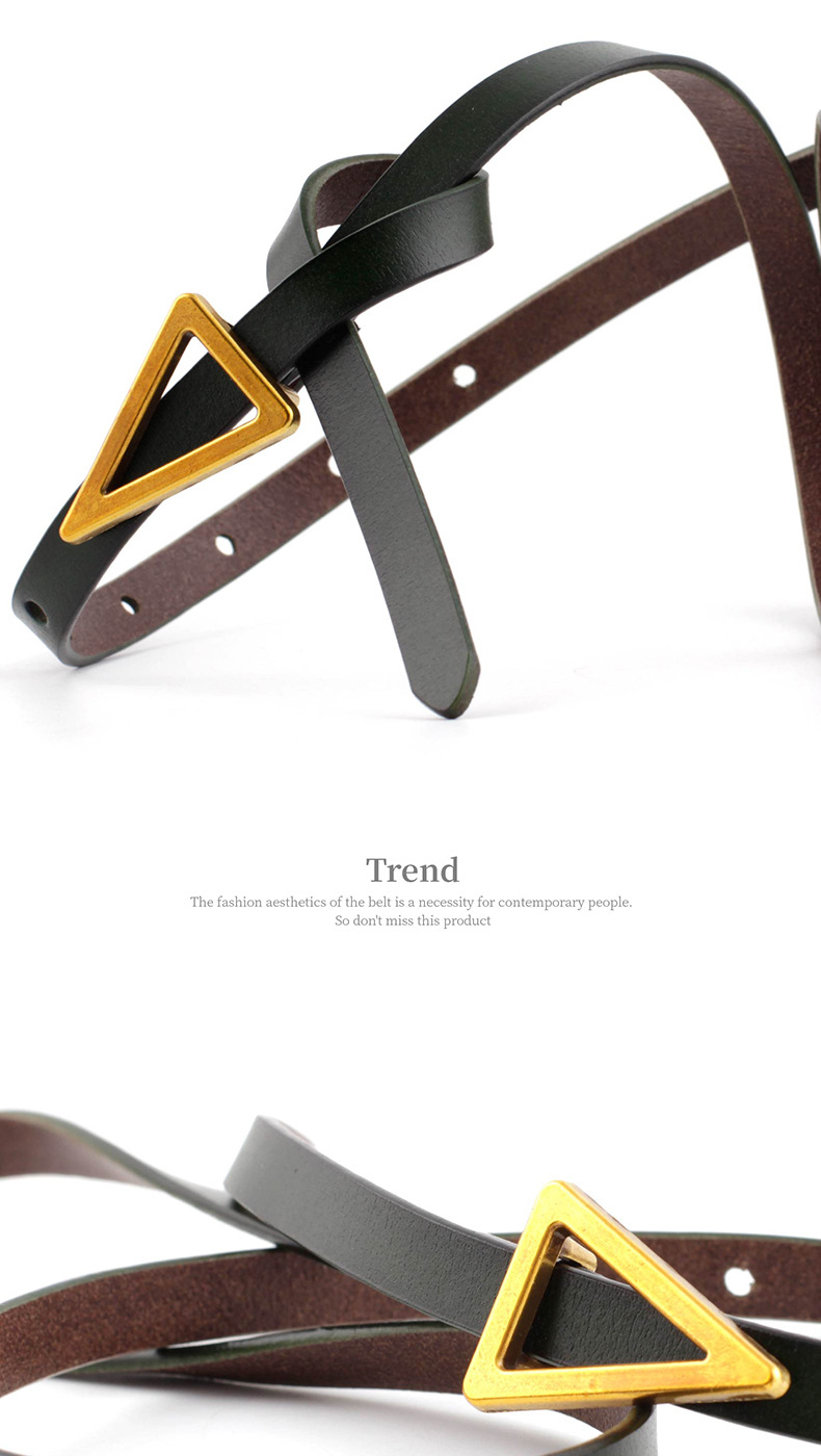 new triangle retro decorative two-layer cowhide knotted belt leather wild skirt thin belt wholesale nihaojewelry NHPO222099