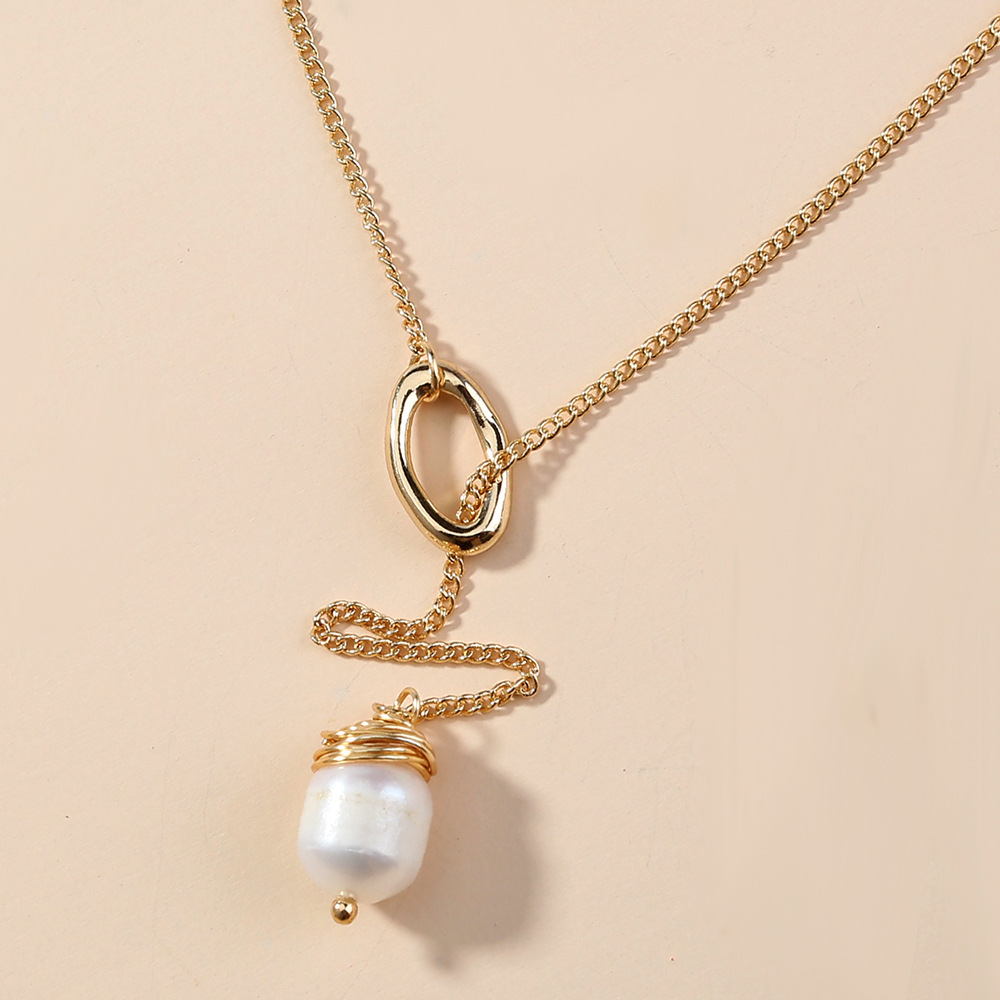 Fashion tassel pendant multilayer natural freshwater pearl alloy necklace for women NHAN251952