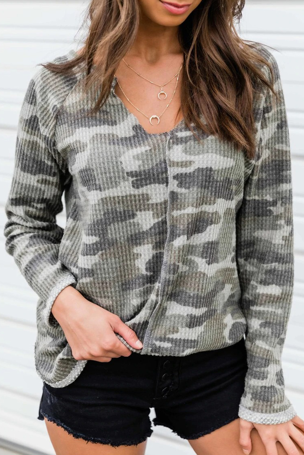 women's sleeve camouflage new loose long-sleeved v-neck women's sweater  NSSI2313