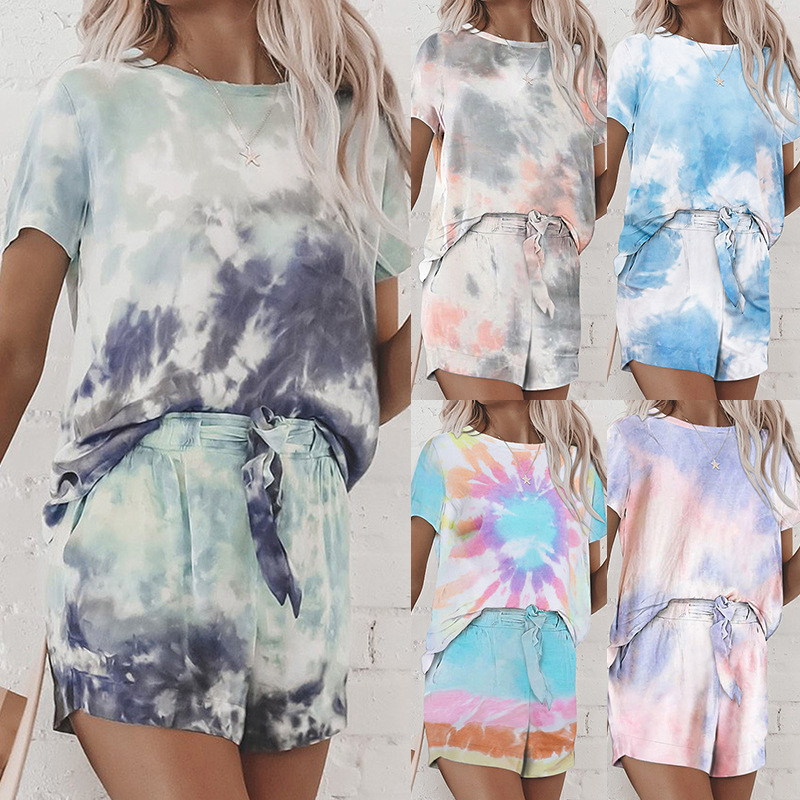 Spring and summer 2020 new European and American home wear leisure two piece set women summer Amazon short sleeve shorts home set