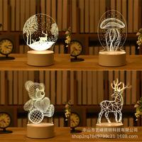 跨境定制礼品礼物创意卧室床头LED小夜灯3d图案LOGO定制一件代发