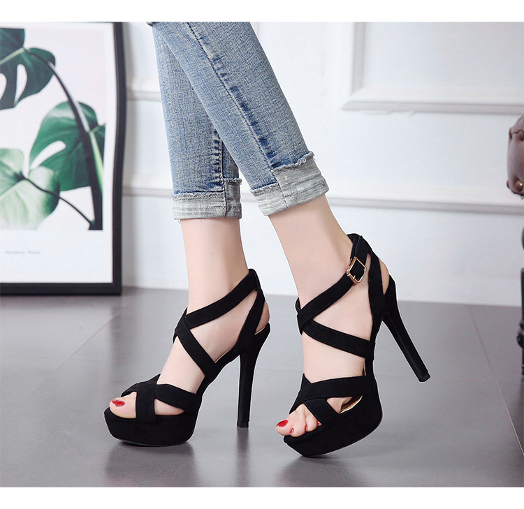 Summer new flat buckle sandals stiletto open toe waterproof platform high heel cross belt women's shoes NHSO200252