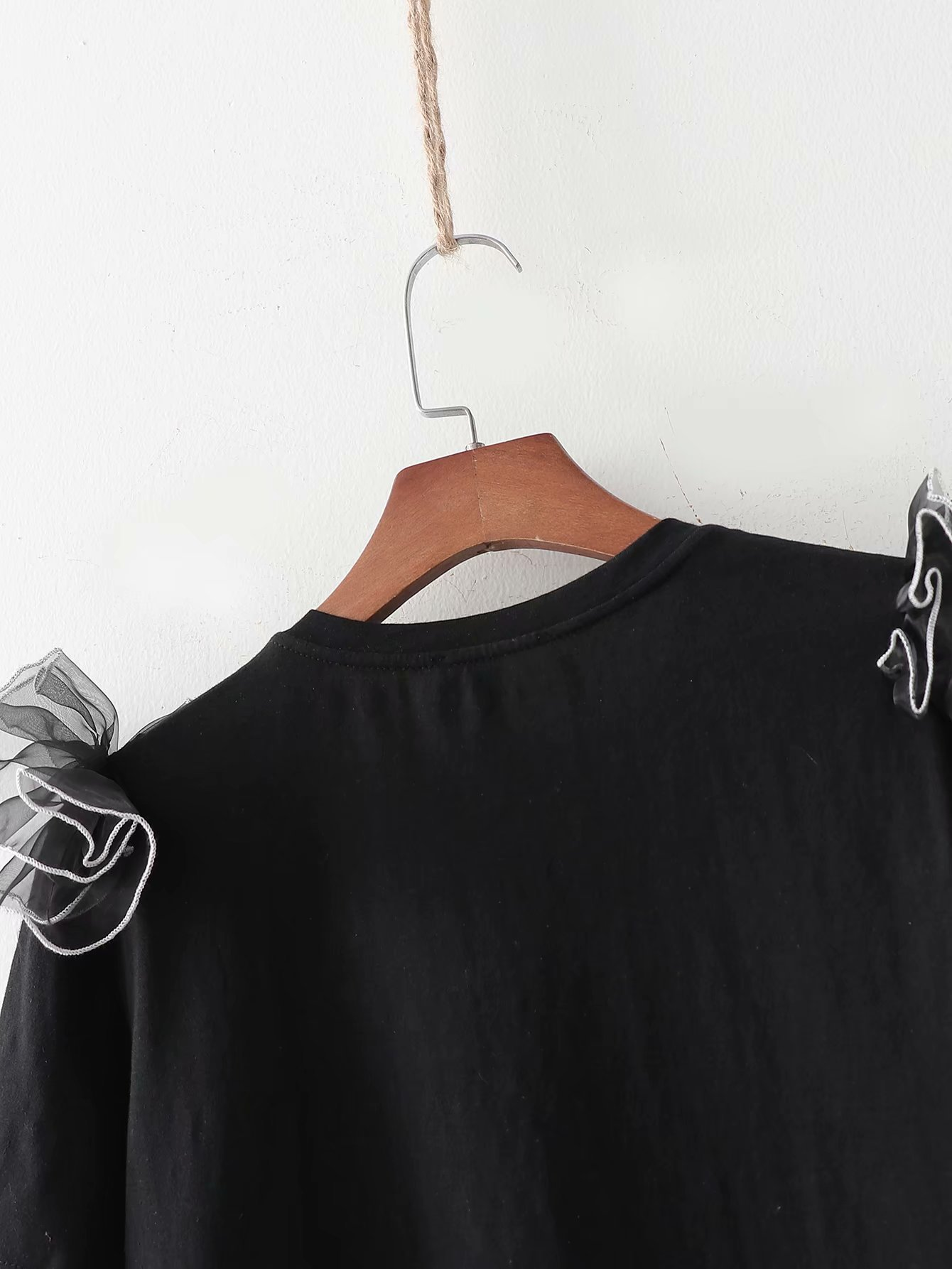 New fashion simple spring tulle overlay decoration women's T-shirt wholesale NHAM204797