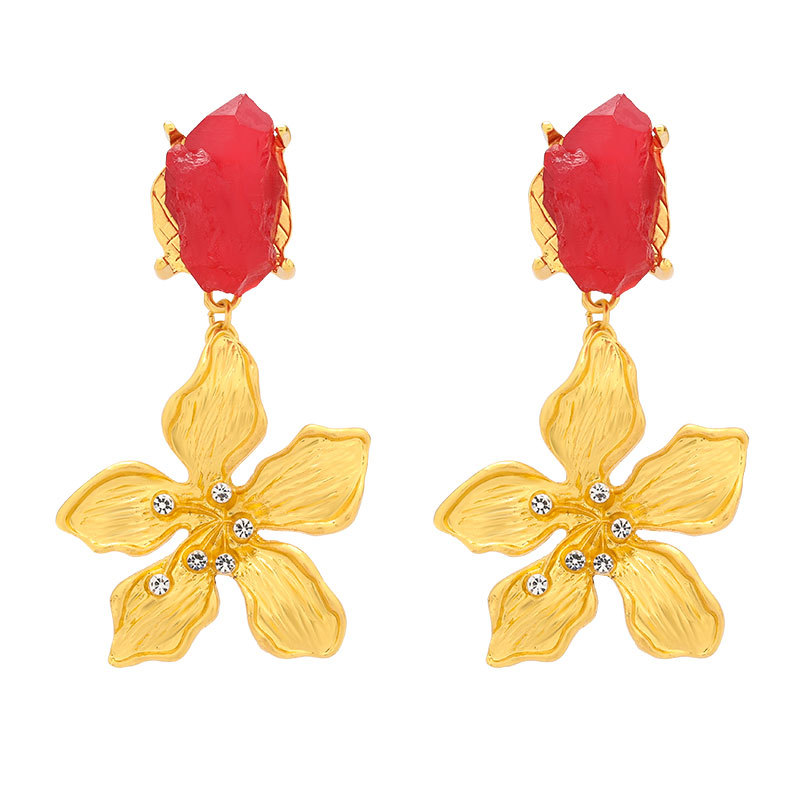 New fashion vintage earrings with diamond and crystal rough stone flower earrings NHJE203504