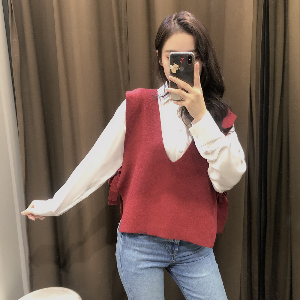 Wholesale Autumn Tie Rope Sweet Beauty Knitted Vest  NSAM3850