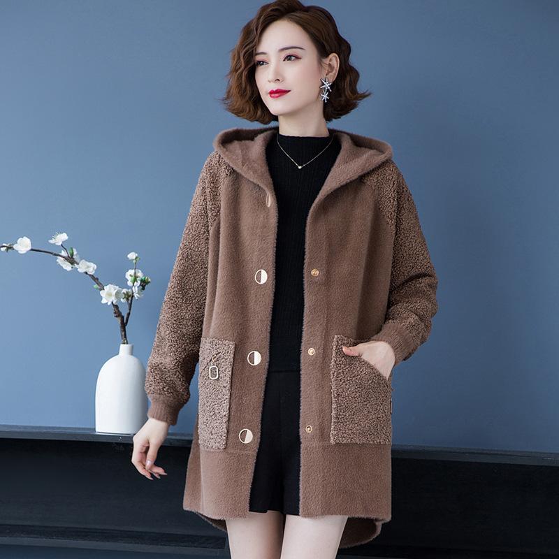连帽大衣女中长款大码年轻妈妈仿水貂绒开衫加厚宽松大款毛呢外套