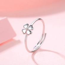 925純銀四葉花戒指女日韓風簡約小花鑲鉆少女心可調節指環手飾品