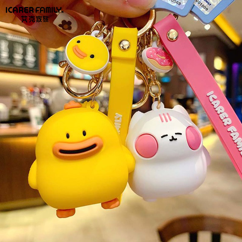 New Cartoon Cute Epoxy Keychain Couple Bag Pendant Accessories