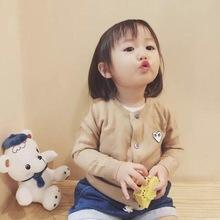 日系爱心毛衣开衫男女儿童装亲子针织中大童纯色羊毛衫短情侣外套