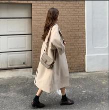 实拍秋冬韩版宽松时尚减龄单排扣杏色西装领长袖毛呢外套女u2013