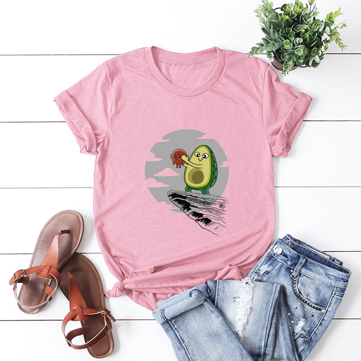 hot Slim Comfortable Casual Large Size Short Sleeve Women's T-shirt NSSN902