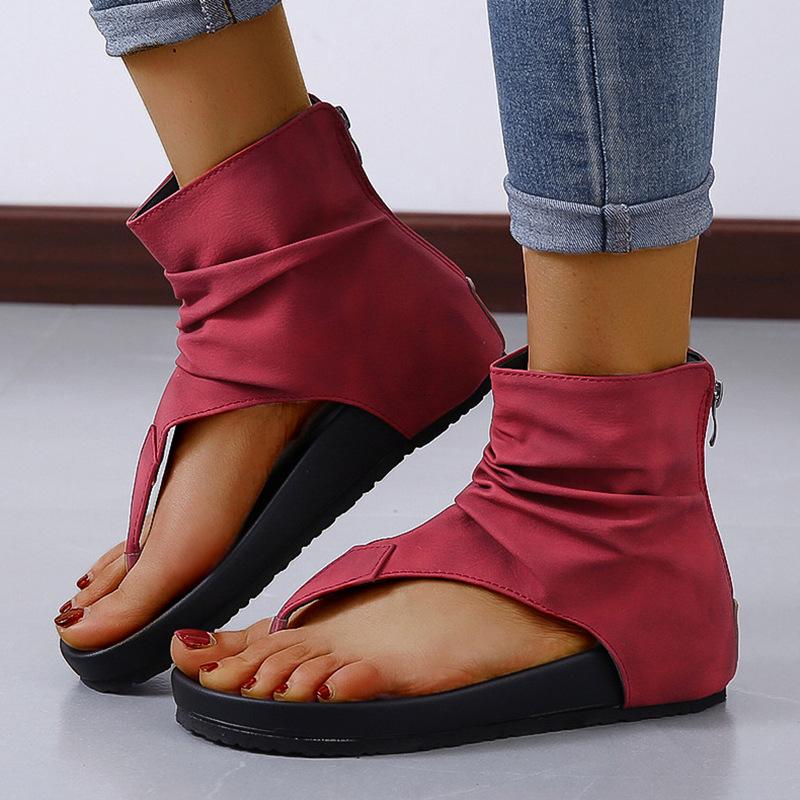 2020新款夏季夹脚休闲厚底舒适拖鞋防滑时尚后拉链罗马凉鞋大码