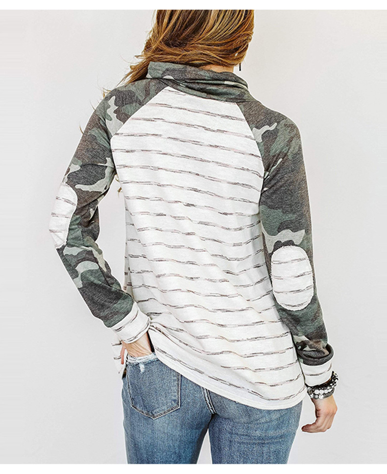 long-sleeved autumn striped stitching street style pile collar pullover women's sweater NSSI2490