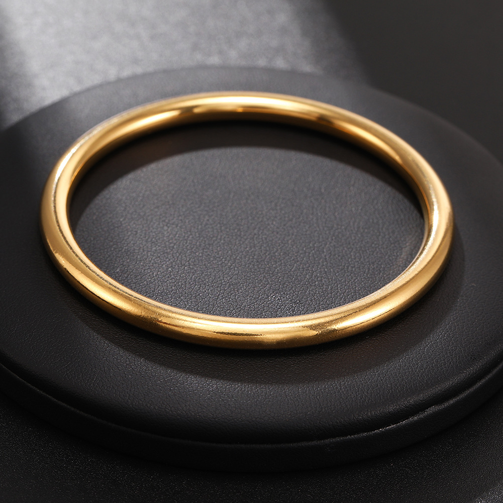 New O-shaped gold bracelet stainless steel oval smooth ladies bracelet NHJJ206734